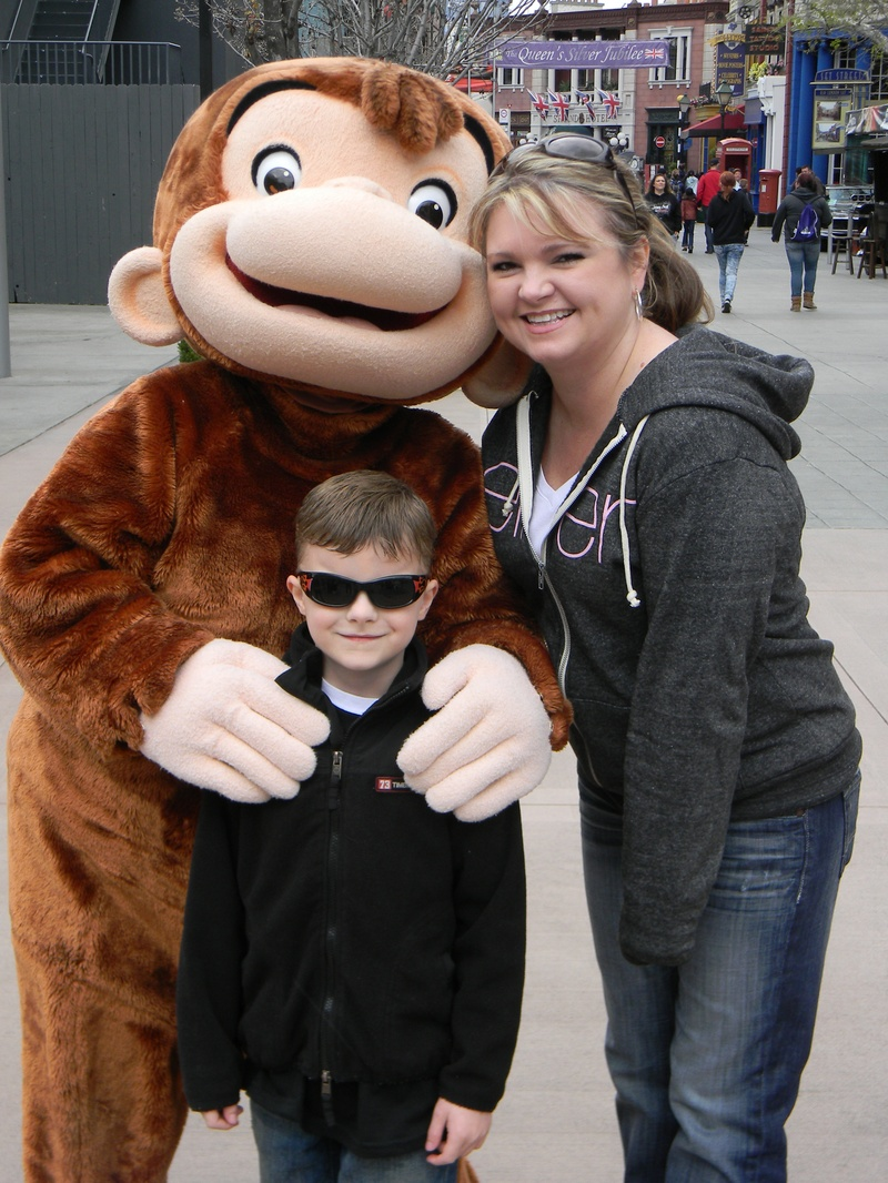 Riley, Angela, and Curious George